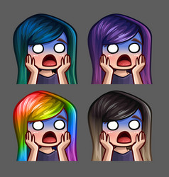 Emotion icons scared female with long hairs vector
