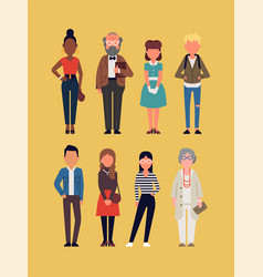Faceless people characters set vector