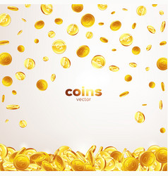 Falling gold coins in different positions vector