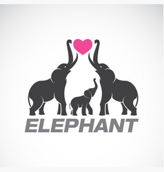 family elephants and pink heart on white vector image