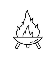 Fire pit on three legs symbol making campfire vector