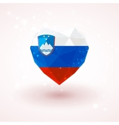 Flag of slovenia in shape diamond glass heart vector