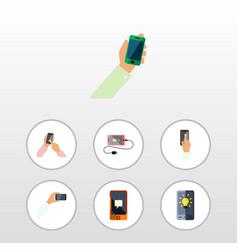 Flat icon phone set of accumulator keep phone vector
