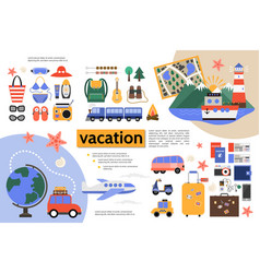 Flat summer vacation infographic concept vector
