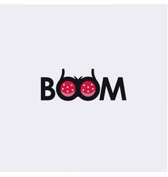 Fun word mark bra boom logo icon template vector