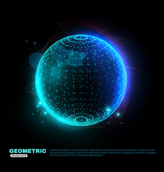 Geometric glowing sphere background poster vector