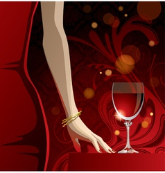 Glass red wine vector
