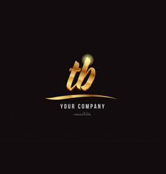 Gold alphabet letter tb t b logo combination icon vector