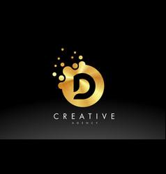Gold metal letter d logo d letter design vector