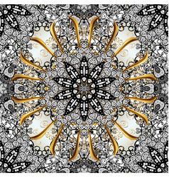 Golden pattern with white doodles on black white vector