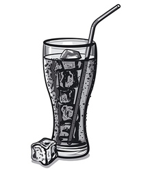 grayscale soda water vector image