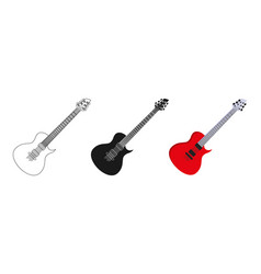 guitar icons set three options icon editable vector image