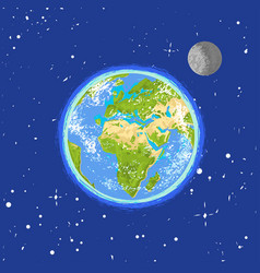 hand drawn earth in the spase vector image