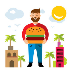 Happy hipster man with hamburger flat vector
