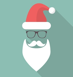 Hat Beard Mustache and Glasses of Santa vector image