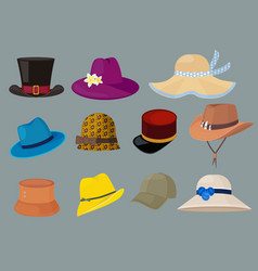 hats fashion clothes for stylish man and woman vector image