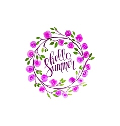 hello summer lettering in vector image