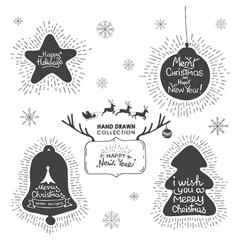 Holiday and christmas hand drawing greeting card vector