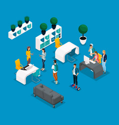isometric coworking center freelancer young people vector image