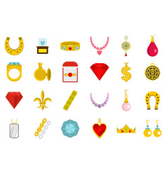 Jewerly icon set flat style vector