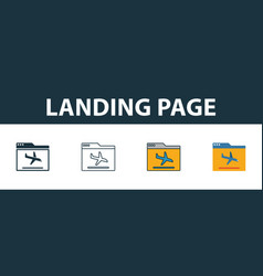 landing page icon set four simple symbols in vector image