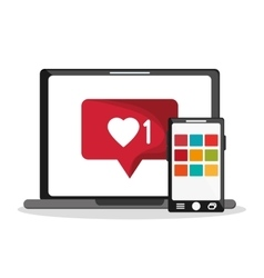 Laptop smartphone and message design vector