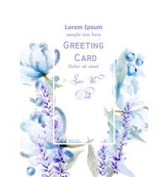 lavemder flowers watercolor card delicate vector image
