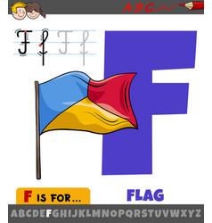 Letter f from alphabet with cartoon flag object vector