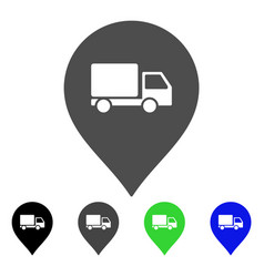 Lorry marker flat icon vector