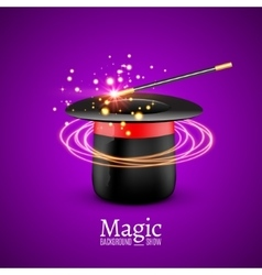 Magic hat with wand magician vector
