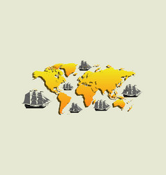 map with ships with separate editable vector image