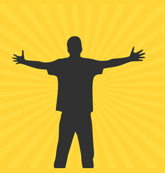 Men with wide open hands with palm extended vector