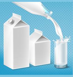 Milk packaging set swirling in glass vector