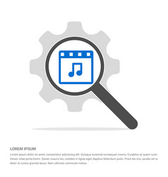 music note icon search glass with gear symbol vector image