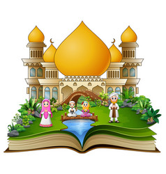 open a book with happy muslim family greeting in f vector image