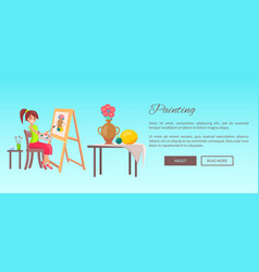 Painting banner cheerful woman with paints set vector
