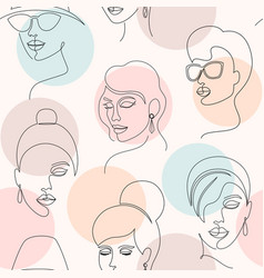 Pattern with woman faces vector