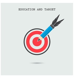 Pencil with target symbol on background vector