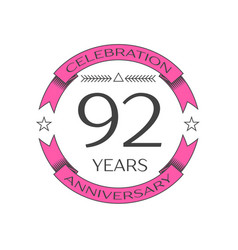 Realistic ninety two years anniversary celebration vector