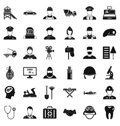 recruitment icons set simple style vector image