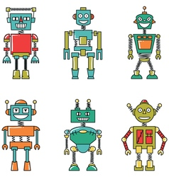 Retro colorful smart robots set vector