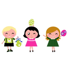retro easter kids vector image vector image