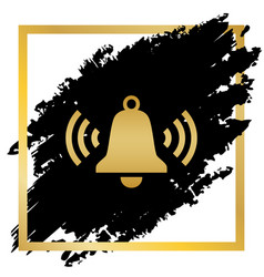 ringing bell icon golden icon at black vector image
