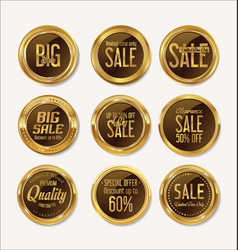 sale retro vintage gold and brown badges and vector image