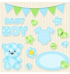 Scrapbook elements for boy vector image