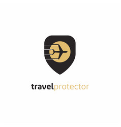 security shield with plane travel protector logo vector image