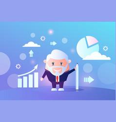 senior businessman analyzing arrow up growth vector image