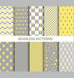 set minimal seamless patterns in yellow vector image
