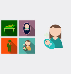 set of medecine icons patient baby mother with vector image