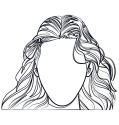 Silhouette faceless woman fashion hairstyle line vector